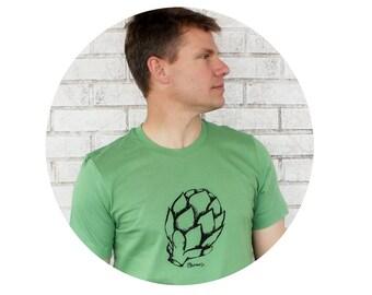 Screen-printed T-Shirt, Men's Artichoke T Shirt, Leaf Green, Cotton Crewneck Graphic Tee, Gift, Farmers Market, Produce, Vegetable