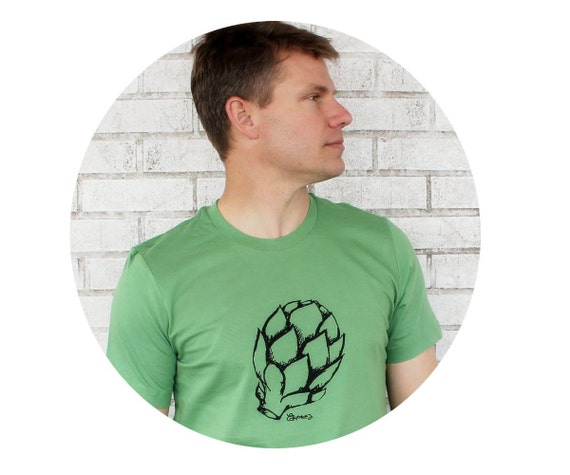 Screen-printed T-Shirt, Men's Artichoke T Shirt, Leaf Green, Cotton Crewneck Graphic Tee, Gift, Farmers Market, Produce, Vegetable