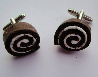 Chocolate swiss Roll handmade Polymer clay novelty cufflinks