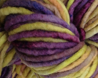 Bulky / Chunky Weight Hand Painted Wool Yarn Pencil Roving in Autumn Hydrangea 60 yards
