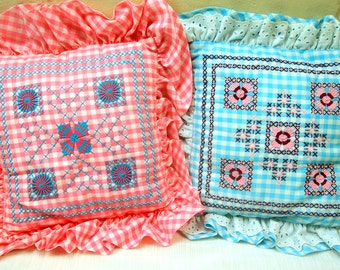 Set Of Two Super Cute Embroidery Vintage 1960's Pillows