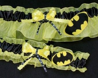 Batman Superhero Keepsake Wedding Garter Set, Can Be Personalized