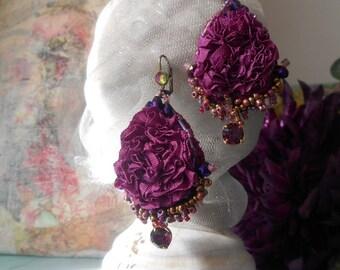 Textile earrings ,wrinkled ribbon  lightweigt, Purple addict boho style