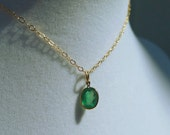 Genuine Emerald Necklace - Nearly 1 ct - Gold Choker or Choose Length - Minimalist Necklace - Real May Birthstone by Tejidos on Etsy