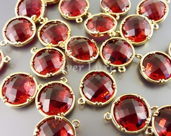 2 Royal ruby cut glass gemstone connectors - 12 mm round jewelry links in dark pink red and gold 5014G-RU-12