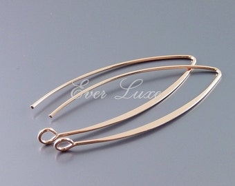 4 Long marquise shaped earwires / ear wires in bright rose gold finish B075-BRG