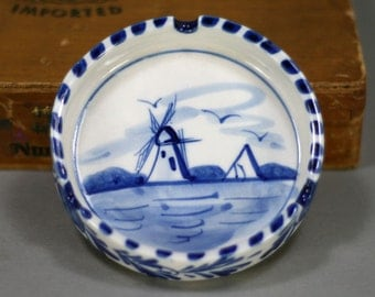 Delft Blue Ashtray - Vintage Ceramic Holland Hand Painted Windmill