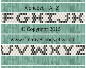 Alphabet Pattern in Odd Count Peyote Stitch - Peyote Pattern