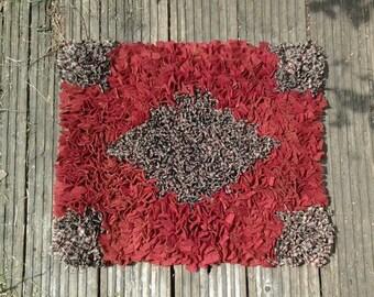Rag Rug, Floor rug, upcycled rug , wool rag rug,proddy rug, rectangular rug,cat rug