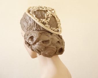 Victorian wedding topper head crown || bridal wax floral head piece || 1900 by cubesandsquirrels