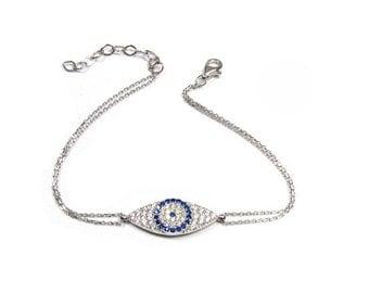 CZ Pave Evil Eye Bracelet in Sterling Silver