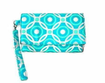 Turquoise Aqua Women's Phone Wristlet Wallet - Cushioned iPhone Wallet - Turquoise Wristlet - Womens' Clutch - Removable Strap