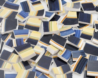 Broken China Mosaic Tiles - Cobalt Blue and Yellow - Recycled Plates - Set of 100