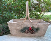 Wood Handle Basket - Wooden Basket - Rustic - Pre Decorated - Decor - Holiday - Repurpose -