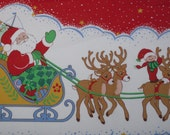 Vintage Springs Industries Christmas Fabric Yardage Tablecloth, Bed Cover,Holiday Border Fabric Price Reduced