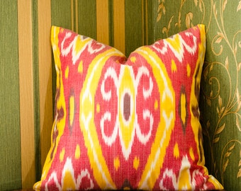 15x15 ikat pillow cover, red, yellow, red yellow pillow, sofa cushion, pillow, cushion, ikats, decorative pillow, accent pillow, uzbek ikat,