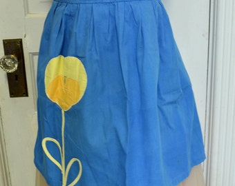Vintage Apron Handmade Blue Cotton Yellow Appliqued Flower Pocket 1960s