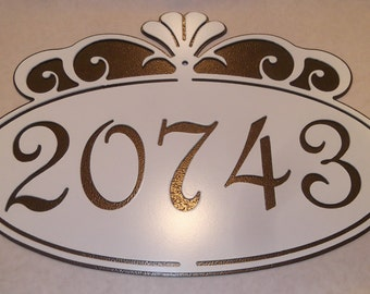Scroll Address sign, street number, Fancy Scroll, house plaque, Metal art, House number, Wall Decor, Name Plaque, outdoor sign, Wall art.