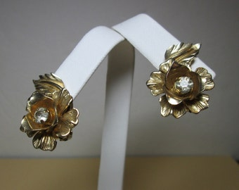 Coro Vintage Rhinestone Floral Clip Earrings signed