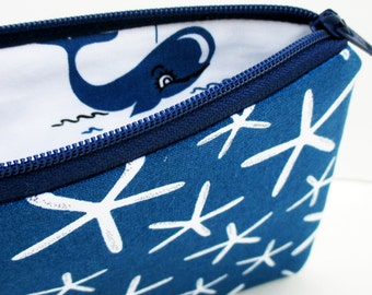 Small Zipper Pouch, Navy Sea Stars with Whales, Coin Purse