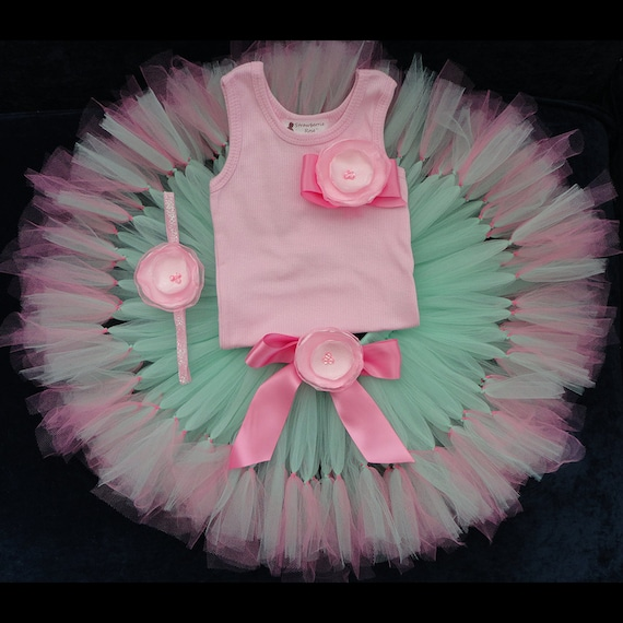 Rose Pink and Mint Tutu Dress Baby Girls 1st Birthday Outfit