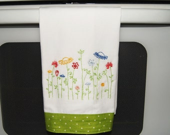 Hand Emroidered Tea Towel * Spring Garden Design*