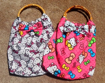 Hello Kitty Purse Tote Handbag Hand Sewn With Bamboo Handles Fully Lined Pink With Bow
