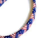 Red, White, Blue American Flag Woven 11mm Headband - Handmade Braided Headband - .5 inch Braided Woven Headband
