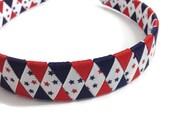 Red & Navy Stars Woven Headband - Handmade - Red, White, Blue Grosgrain Ribbon Woven Braided Headband - 1 inch Braided Headband - Patriotic