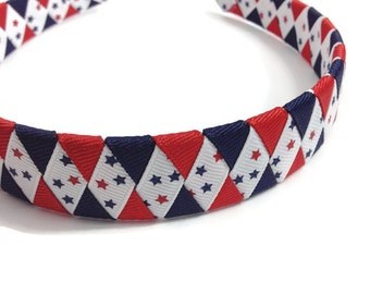 Red, Navy Stars Woven Headband