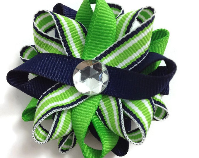 Navy Blue & Apple Green Stripes Hair Bows