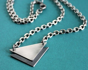 Mens Silver Chain Necklace, Stacked Triangle Pendant