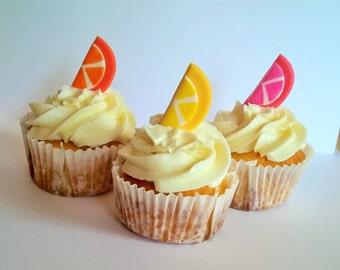 12 Fondant Fruit Slice cupcake toppers.