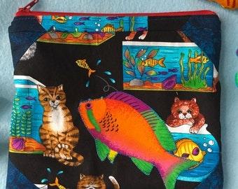 Mischevious Cat Aquarium Fish Tank Clutch Zipper Pouch Summer Tropical Vacation Cosmetic Bag