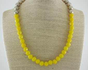 Prettiest Brightest Yellow Beaded Necklace, Big Beaded Necklace, Necklace Yellow, Bridesmaid Necklace, Yellow and Beige Color Block