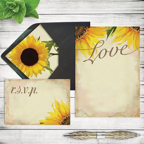 DIY Rustic Sunflower Wedding Invitation Template Printable – Sunflower Wedding Invites
