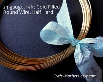 Take 15% off with 15OFF20, 24 gauge Gold Filled Wire, Round, Half HARD, 14K/20, wire wrapping, precious metal jewelry wire - SELECT a Length