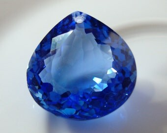 Cornflower Blue Quartz Hearty Pear Shape Pendant Briolette DRILLED  Blue Quartz