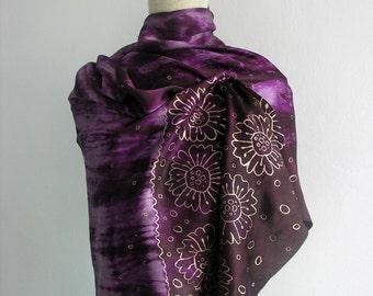 Silk scarf- hand painted-- burned siena- golden stripes- floral motives