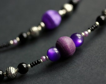 Eyeglass Necklace or Badge Necklace. Purple Eyeglass Chain. ID Lanyard. Glasses Lanyard. Beaded Lanyard. Eyeglass Holder. Handmade Lanyard.