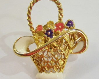 gold tone basket with flowers brooch pin tie tack 14IN