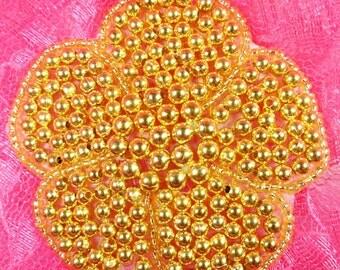 """JB151 Flower Applique Gold Beaded Floral DIY 3"""" (JB151-gl)"""