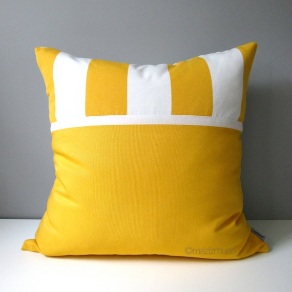 Decorative Outdoor Pillow Covers : SALE Yellow & White Outdoor Pillow Cover Decorative Striped