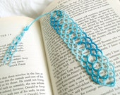 Nautical Lace Bookmark with Beaded and Tatted Tassel - Turquoise and Teal Tatting - Lexia - One Of A Kind
