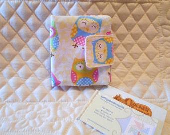Cute Owl Rewards Card /  Business / Credit  Card / Debit  Mini Case Holder with Velcro  Closure