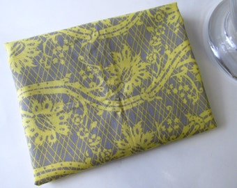 Dark Grey with Yellow floral  -  32 inches long - Cotton Destash fabric- Ready to ship!