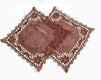 Vintage Mocha Brown Table Clothes, Set of 2, Embroidered Square Doily Mat, Handmade