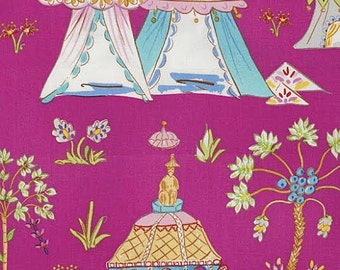 Haute Girls Fabric by Dena Designs Pink Toile Ornate Beach Tents with Palm Trees on Pink