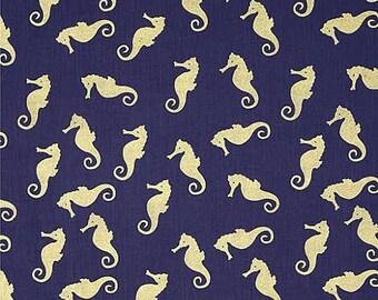 Seaworthy Fabric by Dear Stella Tossed METALLIC GOLD Sea Horses Ocean Sea Beach on Navy Blue