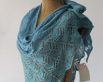 Delft Blue Wool and Silk Trangular Lace Shawl Scarf